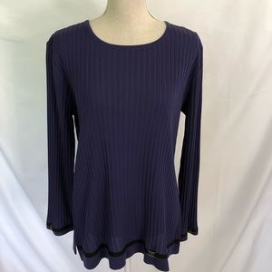 Exclusively MISOOK Purple Black Ribbed Tunic Top M